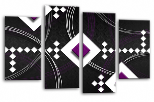 Modern Abstract Wall Art Picture Black White Purple Canvas Print